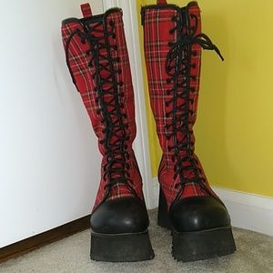 "Demonia plaid punk goth 3.5"" platform boots"